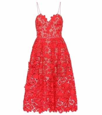Lace dress with bustier red